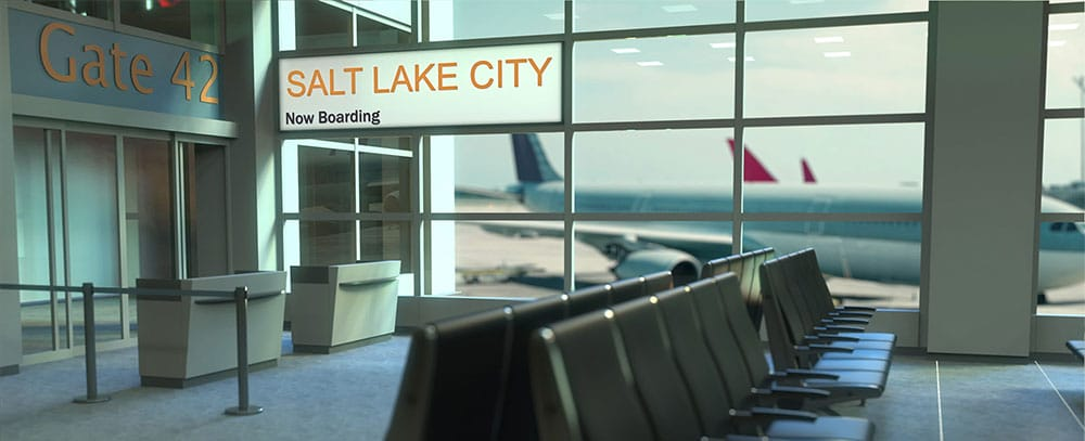Salt Lake City flight boarding now in the airport terminal concept